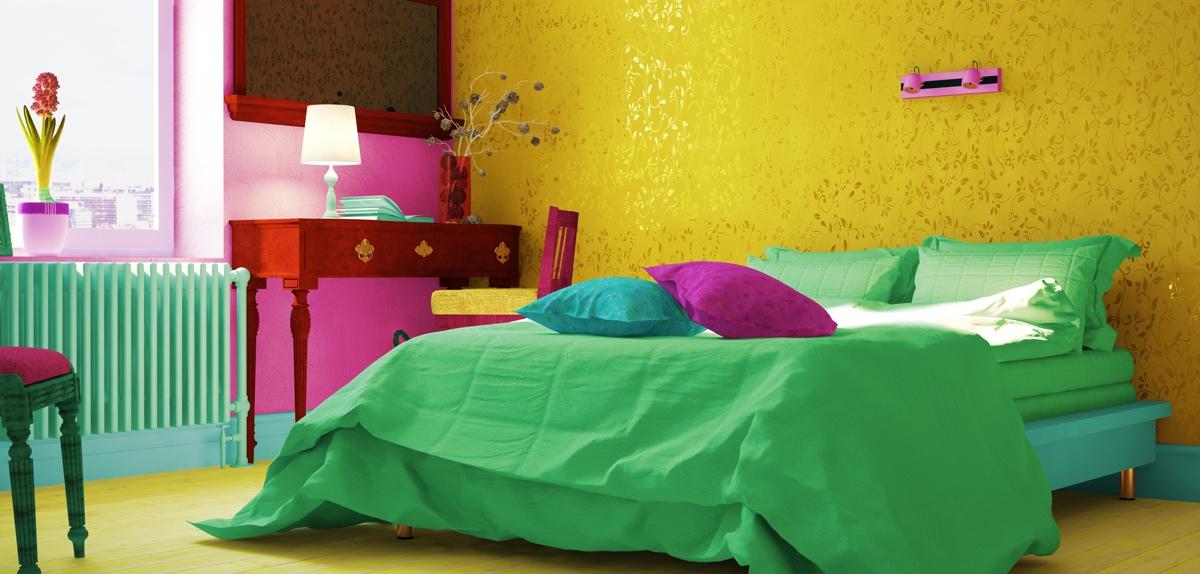 ein bunter traum farben im schlafzimmer. Black Bedroom Furniture Sets. Home Design Ideas